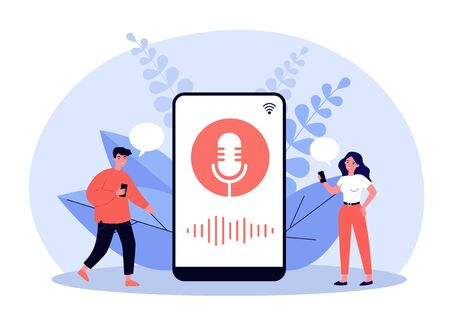 Happy tiny people using voice assistant isolated flat vector illustration. Cartoon characters standing near big smartphone with speaker. Software and digital technology concept