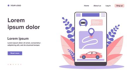 Car sharing app. Smartphone app interface with map and vehicle flat vector illustration. City transport, transportation, urban traffic concept for banner, website design or landing web page