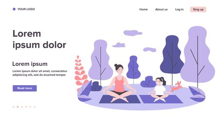 Happy mom and daughter practicing yoga in park Illustration
