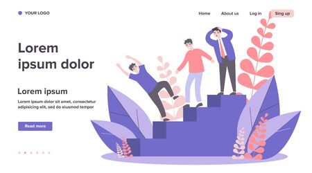 Businessmen watching colleague falling from stair. Business failure, loss, error flat vector illustration. Career mistakes concept for banner, website design or landing web page Ilustracja
