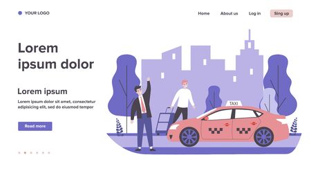 Happy businessman taking taxy. Luggage, cab, transport to airport flat vector illustration. City traffic, travel, transportation concept for banner, website design or landing web page