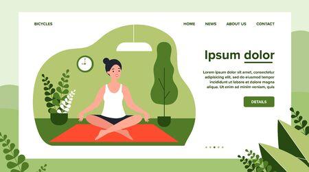 Woman doing morning yoga at home flat vector illustration