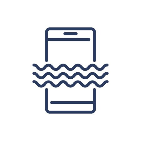 Mobile phone in water thin line icon. Waterproof smartphone, resistance, ocean isolated outline sign. Phone repair, service, breakdown concept. Vector illustration symbol element for web design Illustration