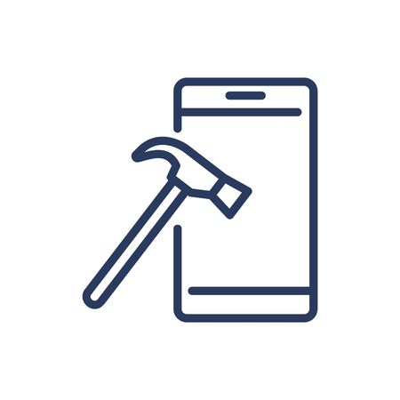 Cellphone and hammer thin line icon
