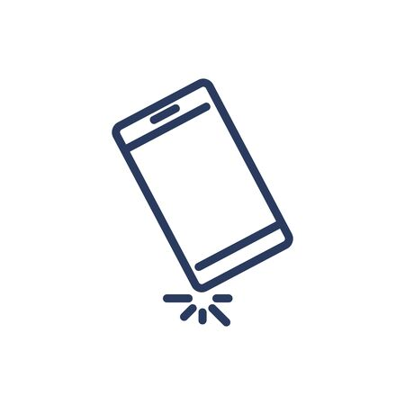 Smartphone falling thin line icon