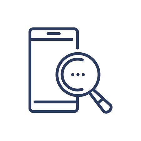 Smartphone with magnifier glass thin line icon Ilustração