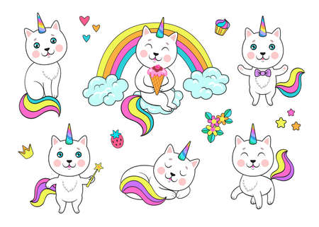 Funny rainbow unicorn cat set Ilustrace