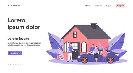 Children and grandchildren visiting grandpa. Country house, family meeting at entrance flat vector illustration. Togetherness, family, support concept for banner, website design or landing web page  イラスト・ベクター素材