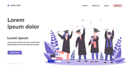 Happy graduated students flat vector illustration Vettoriali