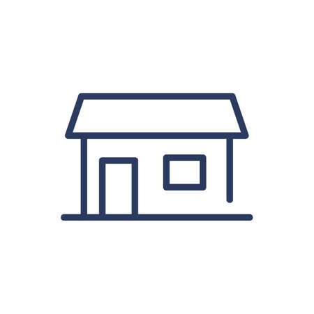 Family cottage thin line icon