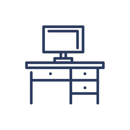 Computer table thin line icon