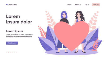 Cheerful female gay couple holding red heart Ilustrace
