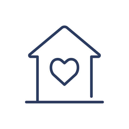 House with heart thin line icon