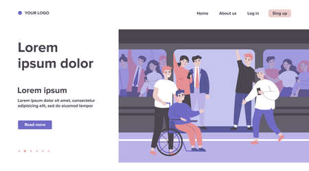 Handicapped guy and his helper travelling by subway train. Help, city transport, wheelchair flat vector illustration. Disabled people support concept for banner, website design or landing web page Vektoros illusztráció
