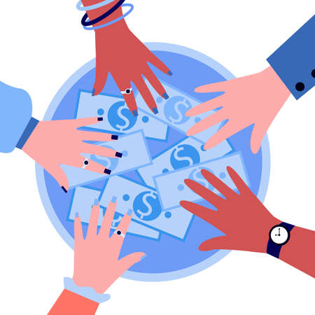 Hands of people taking money from circle shape