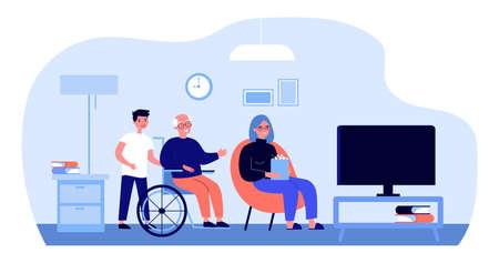 Cheerful diverse people watching TV Stock Illustratie