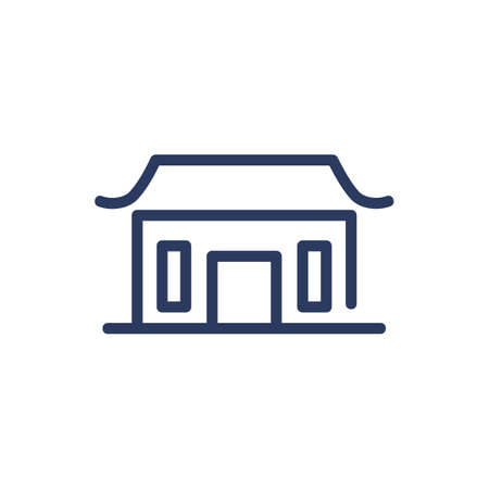 Traditional Asian home thin line icon. Family house, ethnic building isolated outline sign. Architecture, real estate, culture concept. Vector illustration symbol element for web design and apps
