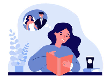 Happy young woman planning her wedding. Bride wearing engagement ring, watching catalogue flat vector illustration. Wedding, engagement concept for banner, website design or landing web page