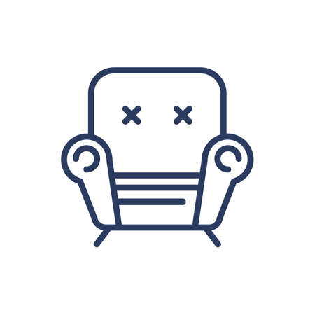 Armchair thin line icon. Soft chair, couch, lounge isolated outline sign. Home interior, furniture, sitting concept. Vector illustration symbol element for web design and apps