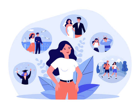 Positive life memories. Woman recalling happy scenes of her life, graduation, wedding day, vacation with beloved man. Vector illustration for past, personality, psychology concept
