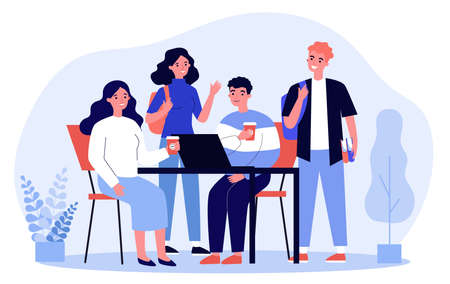 Happy students drinking takeaway coffee. Group of young people using laptop together flat vector illustration. Friendship, communication concept for banner, website design or landing web page Ilustrace