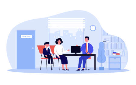 School headmaster meeting with student parent. Principal talking to mom and son in his office. Vector illustration for education, children behavior, teaching concept