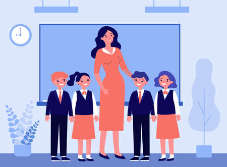 Happy children and teacher standing together in classroom. Class, classmates, pupils flat vector illustration. Primary school, education concept for banner, website design or landing web page