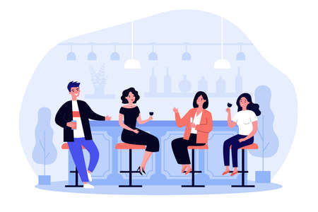 Group of people drinking wine and beer in pub. Cheerful men and women sitting at bar counter with wineglasses and talking. Vector illustration for alcohol, celebration, leisure concept