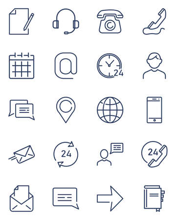 Customer support service icons set