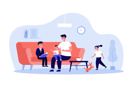 Single father playing games with kids at home. Happy young man and group of children having fun in living room together. Vector illustration for dad, family, parenthood concept