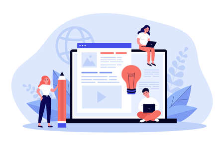 Blog authors writing articles. Freelance writers with laptops creating internet content. Vector illustration for online education, people of creative job, seo marketing concept Illustration