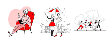 Different people enjoying leisure time set. Using pad, walking in rain, running. Flat illustrations. Activity, vacation, recreation concept for banner, website design or landing web page