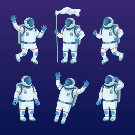 Astronaut character in space flat icon set Ilustrace