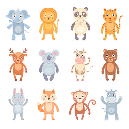 Various baby animals flat icon set