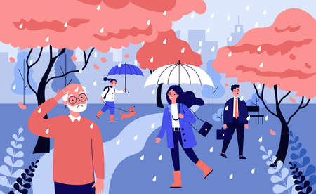 Different people walking in rain. Senior man, businesspeople, child in spring park flat vector illustration. Blooming season, weather concept for banner, website design or landing web page