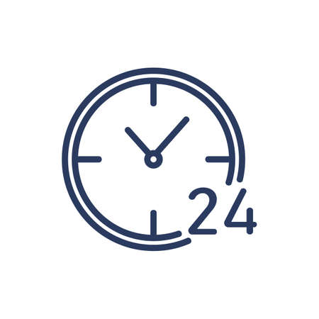 Around the clock thin line icon. Hour, day and night, always open, time isolated outline sign. Service, support, business concept. Vector illustration symbol element for web design and apps Ilustrace