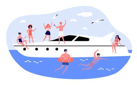 Happy young people enjoying yacht cruise Ilustrace
