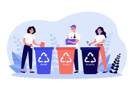 Happy men and women sorting trash. People putting plastic, glass, paper waste into different dumpsters with recycling symbols. Vector illustration for environment protection, garbage, litter concept