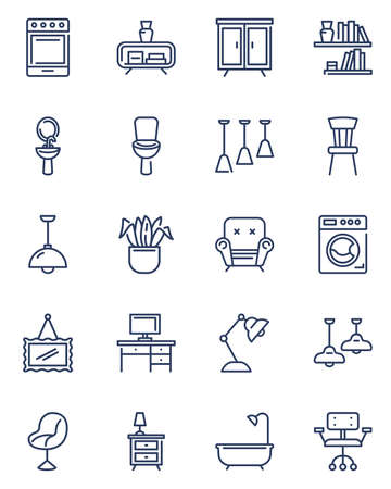 Home furniture icons set. Kitchen appliance, armchair for living room, cupboards, bathroom, light, workplace table. Simple pictograms for house interior and household concept