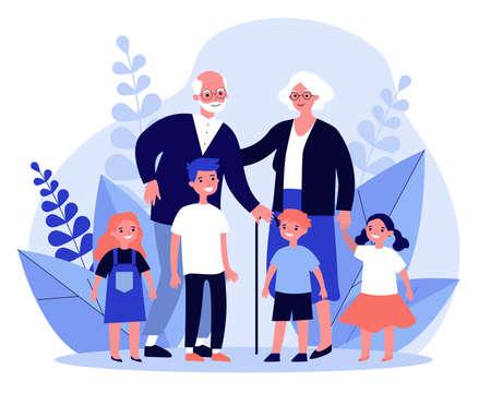 Happy grandparents spending leisure time with grandchildren Ilustrace