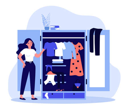 Woman standing near opened closet and looking at dresses flat illustration. Pile of clothes laying in wardrobe. Organization and arrangement concept.