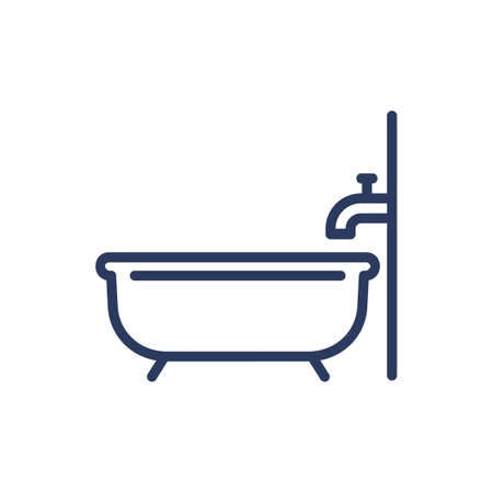Bath and tap thin line icon. Bathroom, water, cleaning isolated outline sign. Plumbing and equipment concept. Vector illustration symbol element for web design and apps