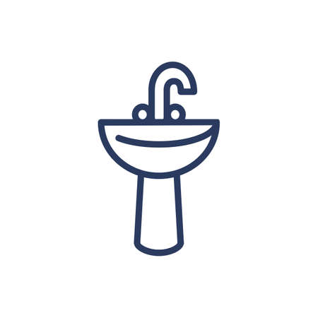 Sink and tap thin line icon. Washing, valve, hand isolated outline sign. Plumbing and equipment concept. Vector illustration symbol element for web design and apps