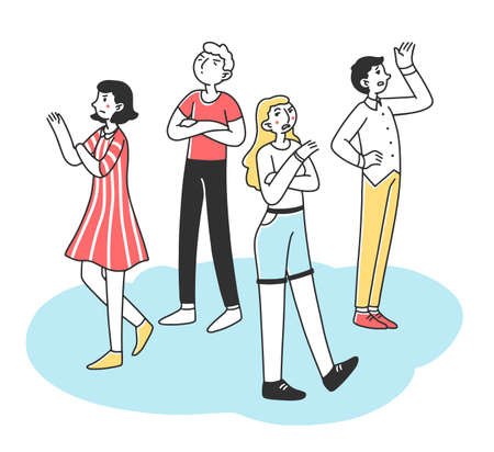 Selfish young people with arrogant and angry behavior flat illustration. Characters standing lonely in pride. Society and communication problem concept.