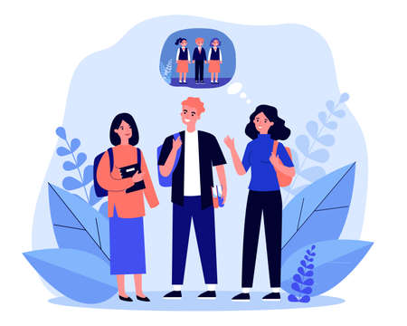 Young teenagers remembering primary school. Memory, child, pupil flat vector illustration. Communication and relationship concept for banner, website design or landing web page