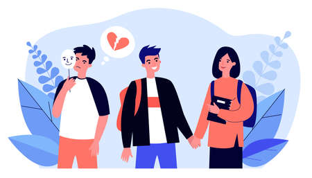 Happy young couple and jealous guy standing near them. Mask, youth, broken heart flat vector illustration. Love and relationship concept for banner, website design or landing web page Illustration
