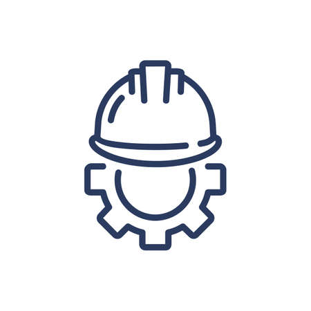 Helmet and gear thin line icon. Security, workwear, constriction isolated outline sign. Work safety and protection concept. Vector illustration symbol element for web design and apps