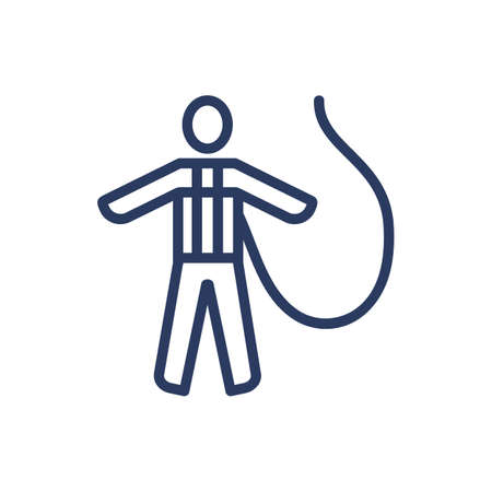 Fall protection harness thin line icon. Constriction, worker, wearing isolated outline sign. Work safety and protection concept. Vector illustration symbol element for web design and apps
