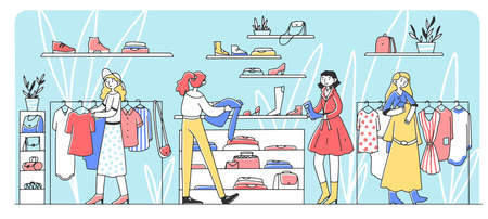 Happy female customers choosing clothes at fashion store flat illustration. Girls taking apparel from hanger and buying garment. Retail and style concept Reklamní fotografie