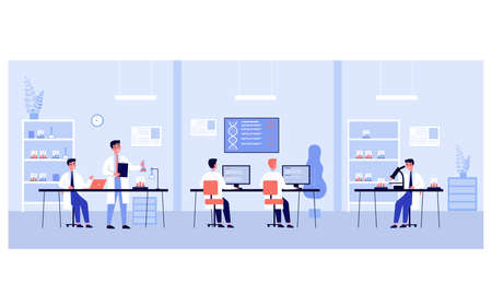 Group of scientists doing genetic research in laboratory. Chemists studying clinical samples and dna structure in lad. Vector illustration for biology, discovery, education, science concept Çizim
